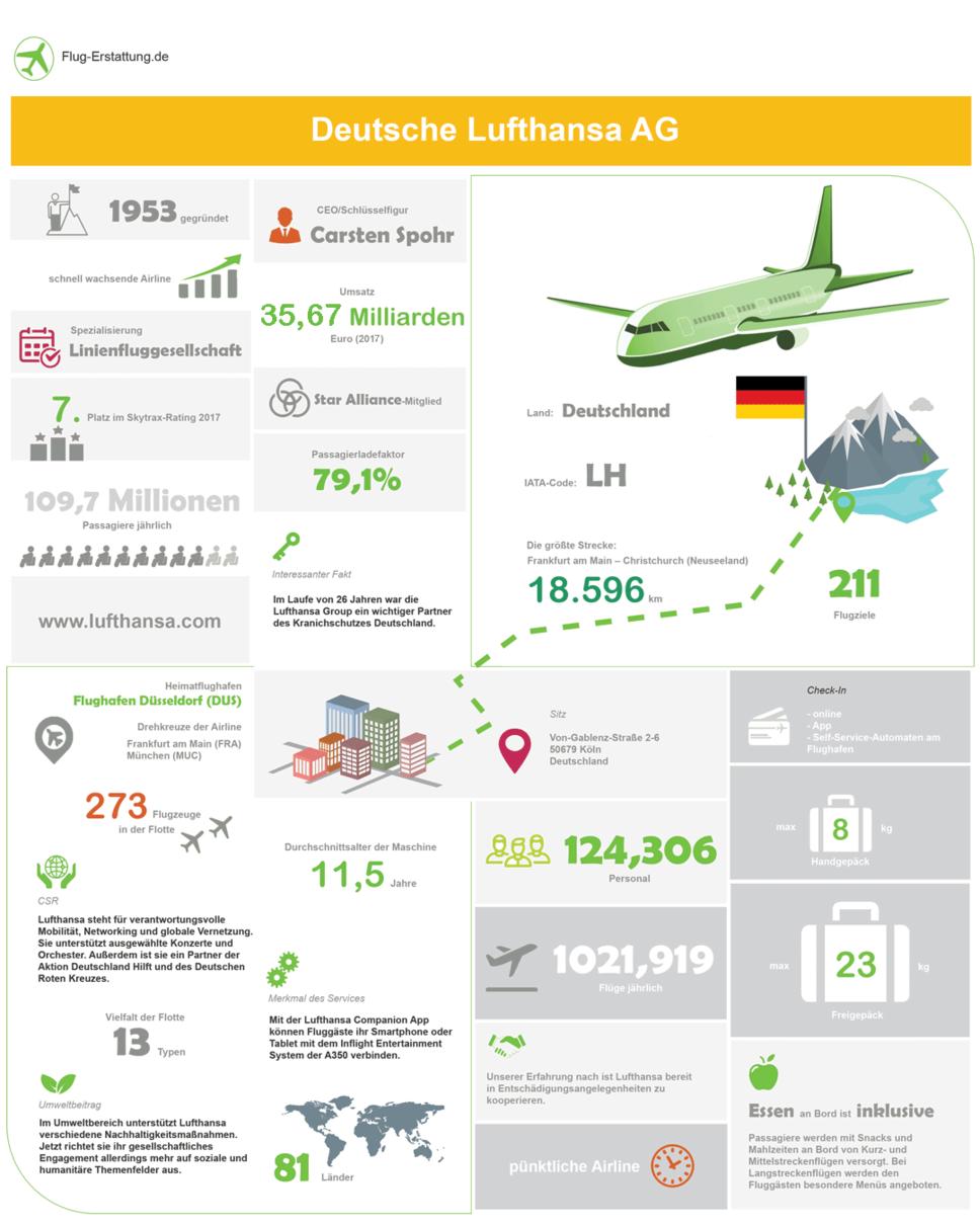 Übersicht der Airline Lufthansa als Infografik